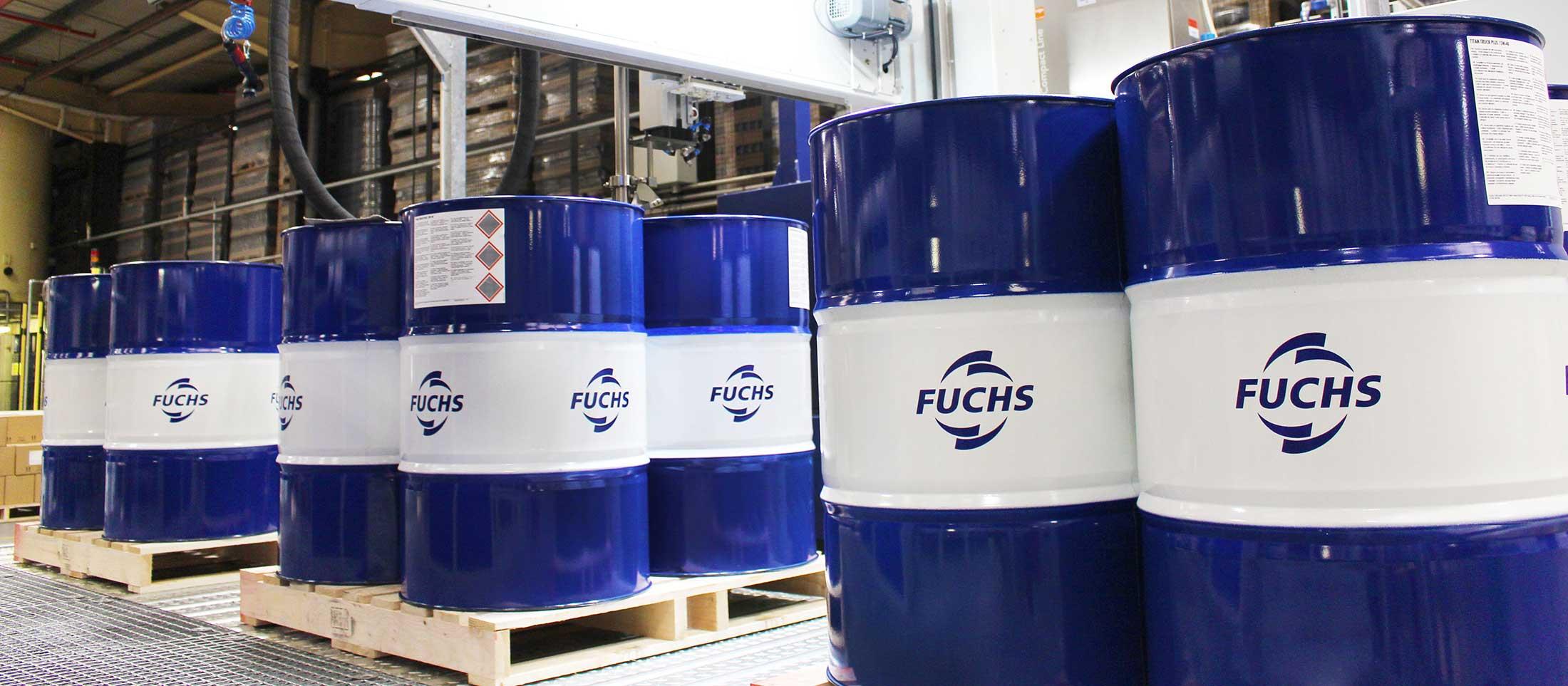 fuchs lubricant barrels on pallets